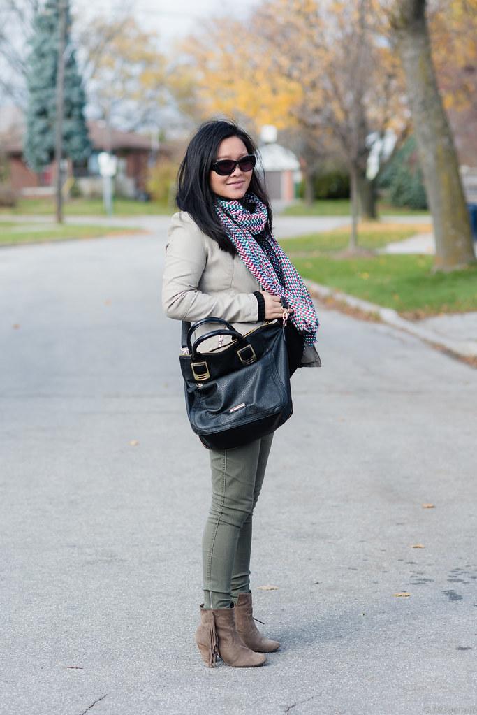beige leather jacket, black rivet moto jacket, zara scarf, steve madden purse, banana republic turtleneck, maternity style