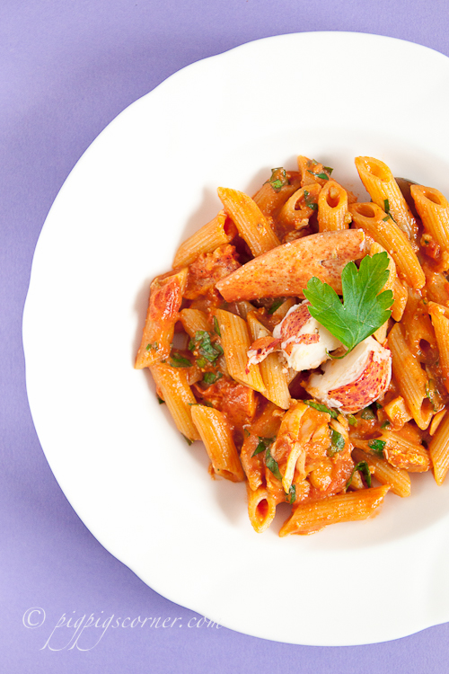 Penne with lobster