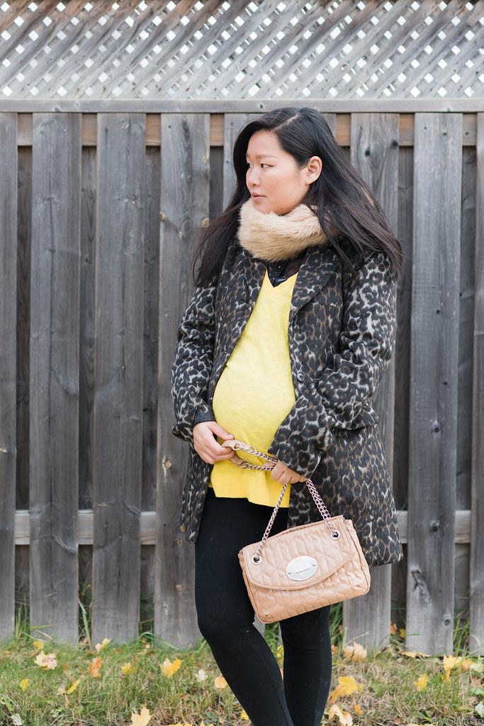 suzy shier leopard print coat, joe fresh faux fur stole, gap oversized sweater, nine west quilted purse