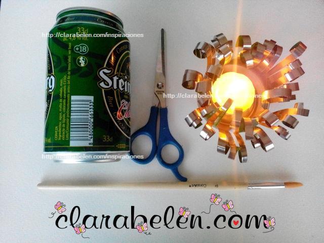 Inspiraciones manualidades y reciclaje portavelas decorativo con latas de refrescos - Manualidades con chapas de refrescos ...