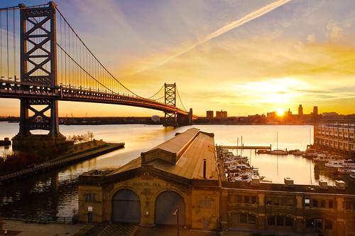city bridge autumn urban philadelphia sunrise river pier dock cityscape pennsylvania benjaminfranklinbridge