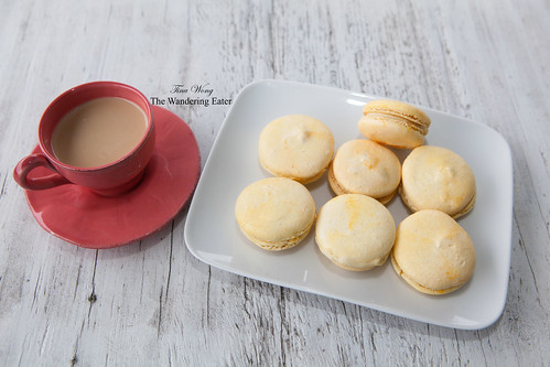 Homemade jasmine-wasabi macarons