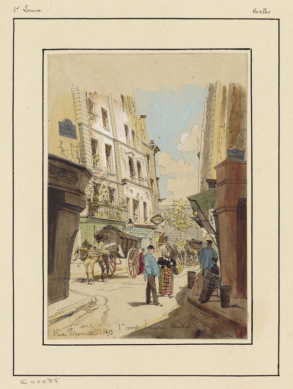 watercolour & pen sketch of 19th century Paris street scene: people & buildings
