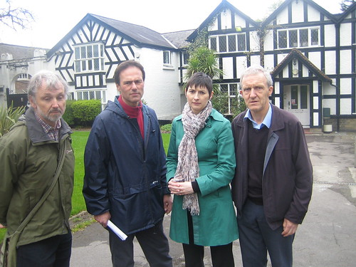 Bob Wharton, Councillor Paul Lorber, London Assembly member Caroline Pidgeon and Richard Sissoon outside the Barham Park buildings