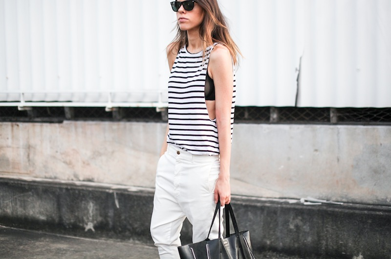 modern legacy fashion style blogger australia Bassike stripe lo slung jeans white mesh bra summer street style tall (7 of 11)