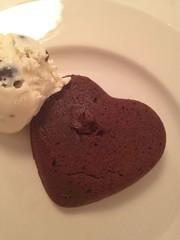 Heart shaped chocolate cake with ice cream