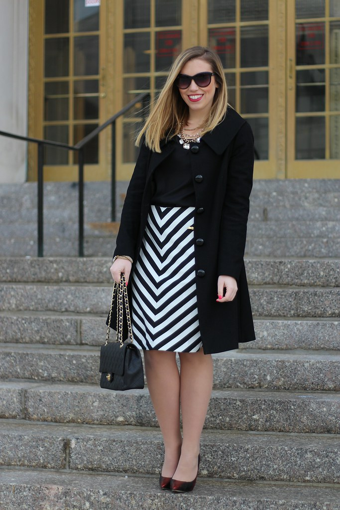 Black & White in a Chevron Skirt on Living After Midnite