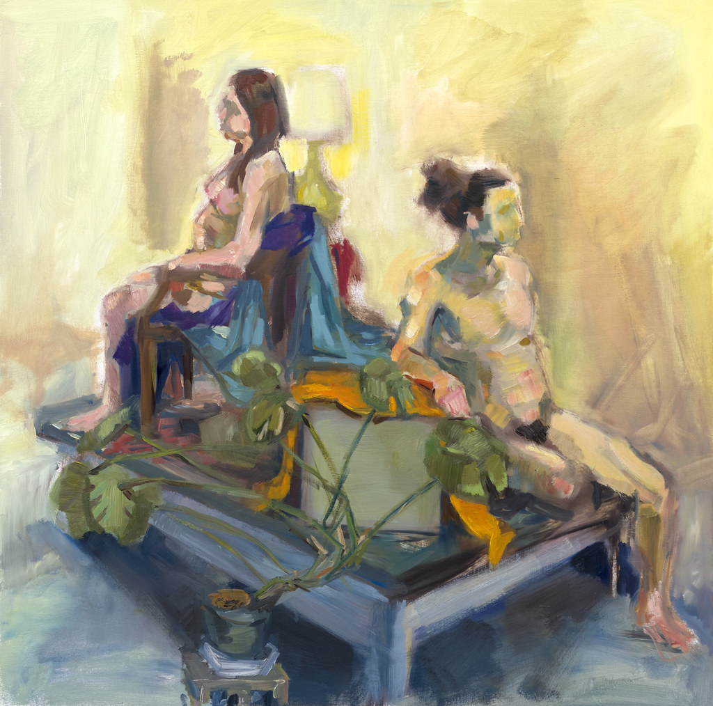"Thomas Wagster Two Figures Seated In A Space Made Up Entirely of Paint on A Surface 24"" x 24"" Oil Paint 2013"