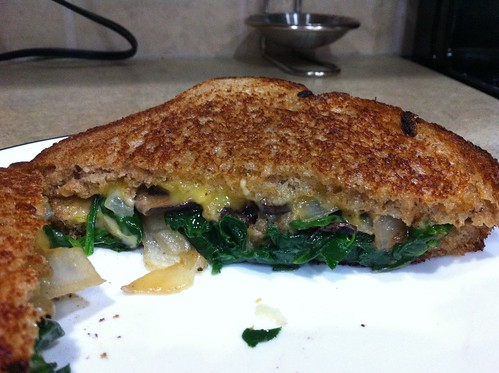 Spinach, mushroom, and caramelized onion grilled cheese