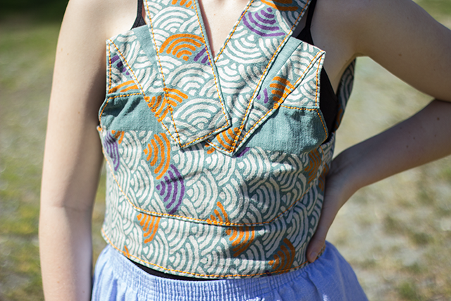handmade cropped vest with wave pattern