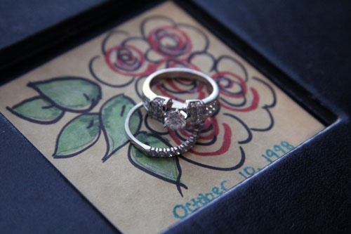 rings with wedding album cover
