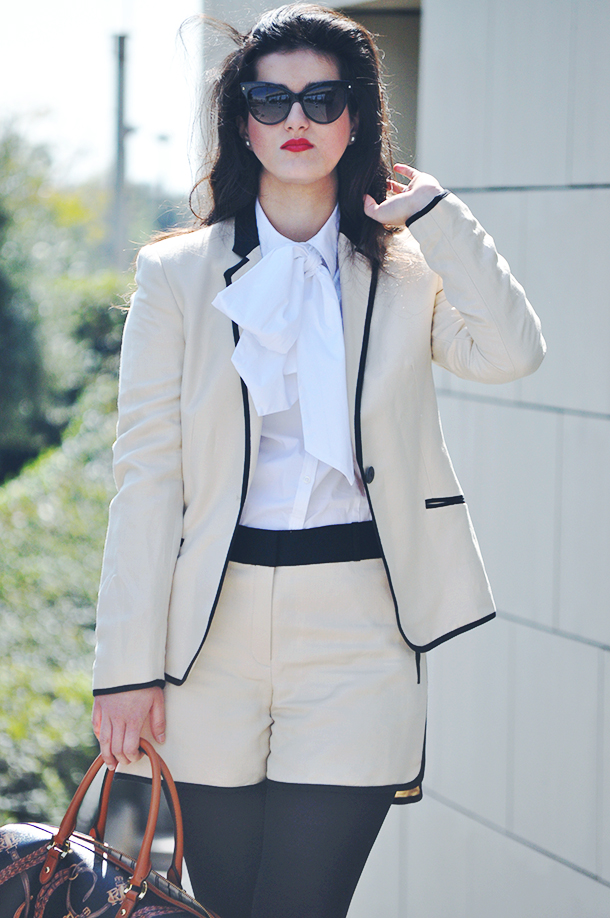 somethingfashion blogger spain fblogger, mango tailored suit short, ralph lauren laced bow shirt white, fblogger valencia, dior mohotani sunglasses les marquises