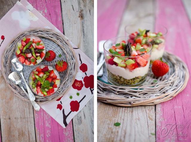 cheesecake salato fragole sedano e asparagi 2