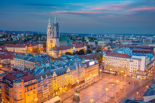 zagreb croatia cityscape travel architecture skyline twilight capital city town exterior buildings sunset dusk europe urban sky blue traveldestination church outdoors tower townscape square famousplace oldtown historical illuminated street