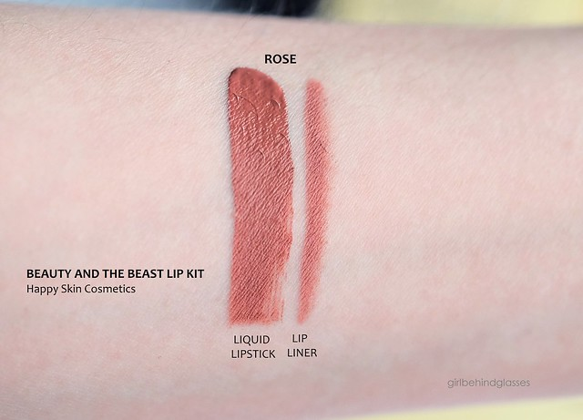 Happy Skin x Beauty and The Beast Moisturizing Matte Lip Kit Rose swatches