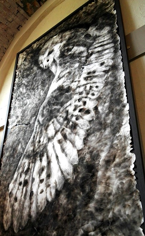 Smoke drawing of an owl by Maria Pavledis at Norfolk by Design's Houghton Hall exhibition