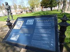 Jubilee Gardens, Rugby - statue of Rupert Brooke - sign