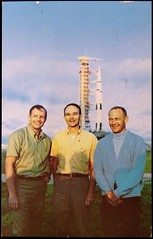 Postcard of Neil Armstrong, Mike Collins & Buzz Aldrin before the launch of Apollo 11. Color photo by NASA, 1969