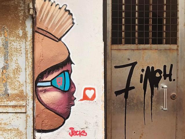 love this graffiti next to some old doors in Wong Chuk Hang @hkwalls #graffiti @jecks_bkk