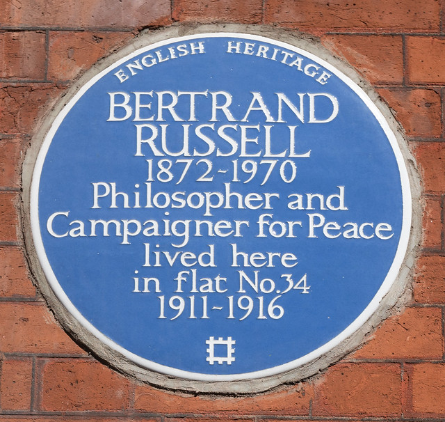 Bertrand Russell blue plaque - Bertrand Russell 1872-1970 philosopher and campaigner for peace lived here in flat no.34 1911-1916