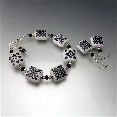 Lampwork Bracelet and Earring Set