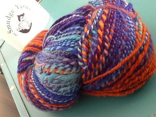 "Hand dyed, hand spun Smudge Yarns in ""get well"" colorway"