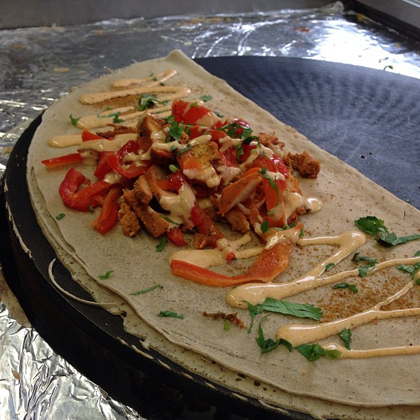 Missed you DC! Sorry, been busy past few weeks with private events. We have a special for you this week: Bombay Dhaba - tandoori marinated chicken, roasted red peppers, curry aioli & fresh cilantro @crepeamour #crepes