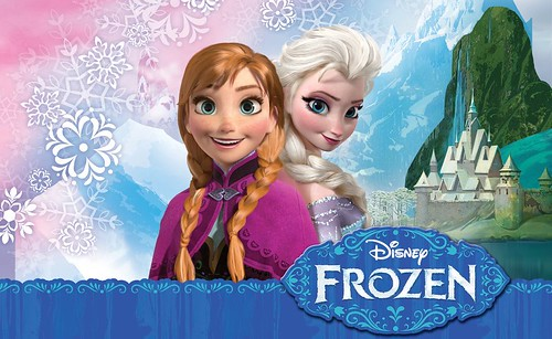 The promotional art for Frozen, which features two white women dressed in medieval clothes