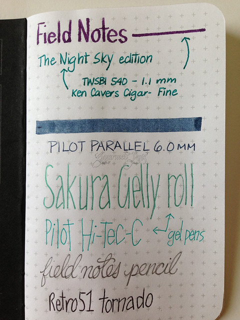 Field Notes Night Sky Writing Sample