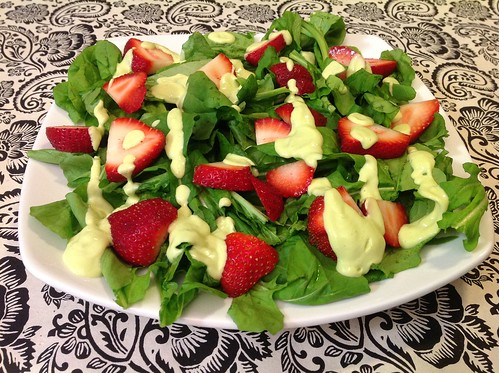 Strawberry Arugula Salad with Creamy Avocado Dressing