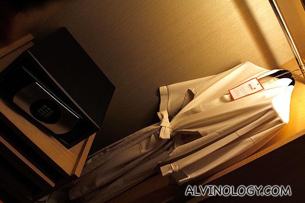 Bathrobes provided in the wardrobe