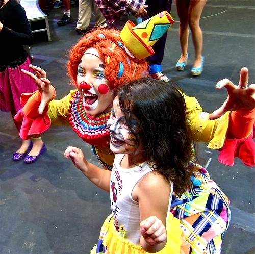 my favorite clown with joyous little girl