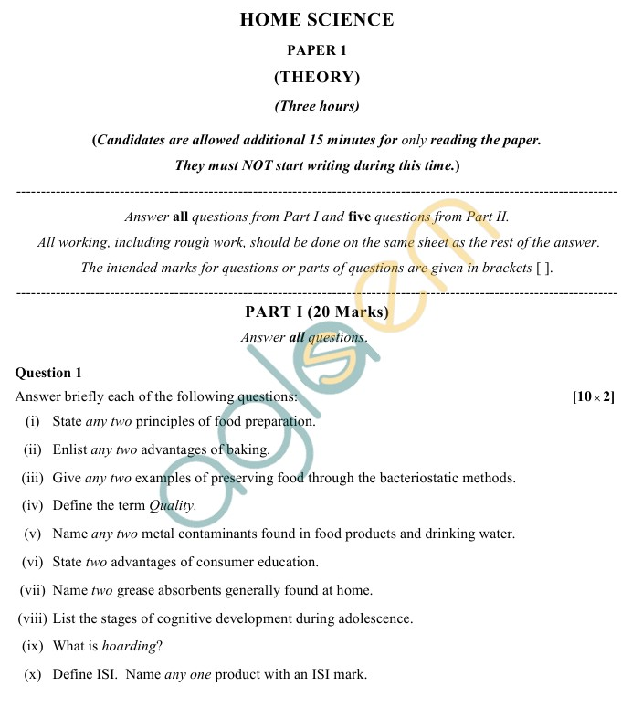 ISC Class 12 Home Science Sample Paper 1