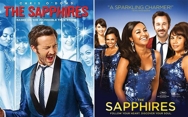 Two dvd covers of the Sapphires movie. One is centered on their white manager, the other foregrounds the four aboriginal stars