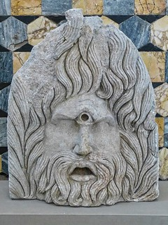 Funerary relief depicting a cyclops theater mask discovered in a Roman mausoleum in Orange, France 1st century CE