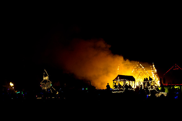 On Friday, people started burning their installations, starting with this giant pyramid.