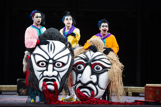 Dionysios Sourbis as Ping, David Butt Philip as Pang and Doug Jones as Pong © ROH/Tristram Kenton, 2013