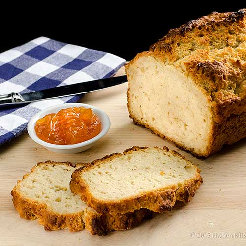 Beer Bread loaf and slices with jam