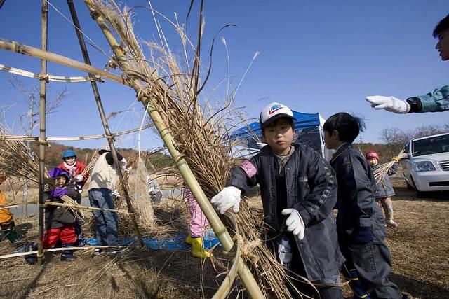 竹の骨組みに,ススキを置いていく.