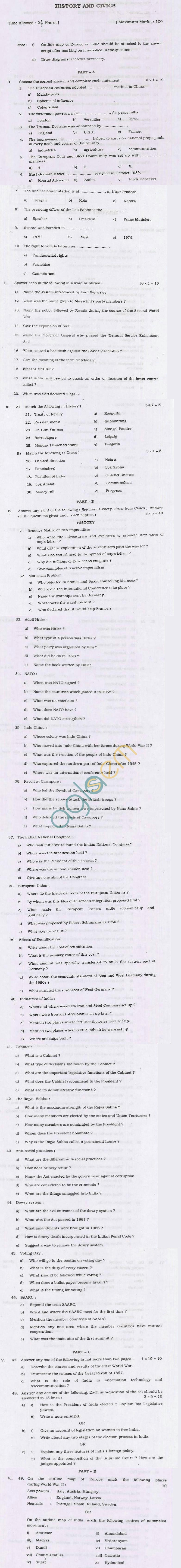 TN Board Matriculation History & Civics Question Papers June 2011