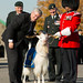 Québec City - Prime Minister Stephen Harper meets Batisse X, the official mascot of the Royal 22e Régiment