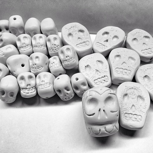 Lots of #handmade #sugarskull #polymerclay #beads sanded, buffed and ready to paint!