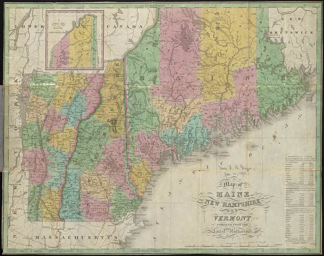 Map Of Maine New Hampshire And Vermont  Compiled From