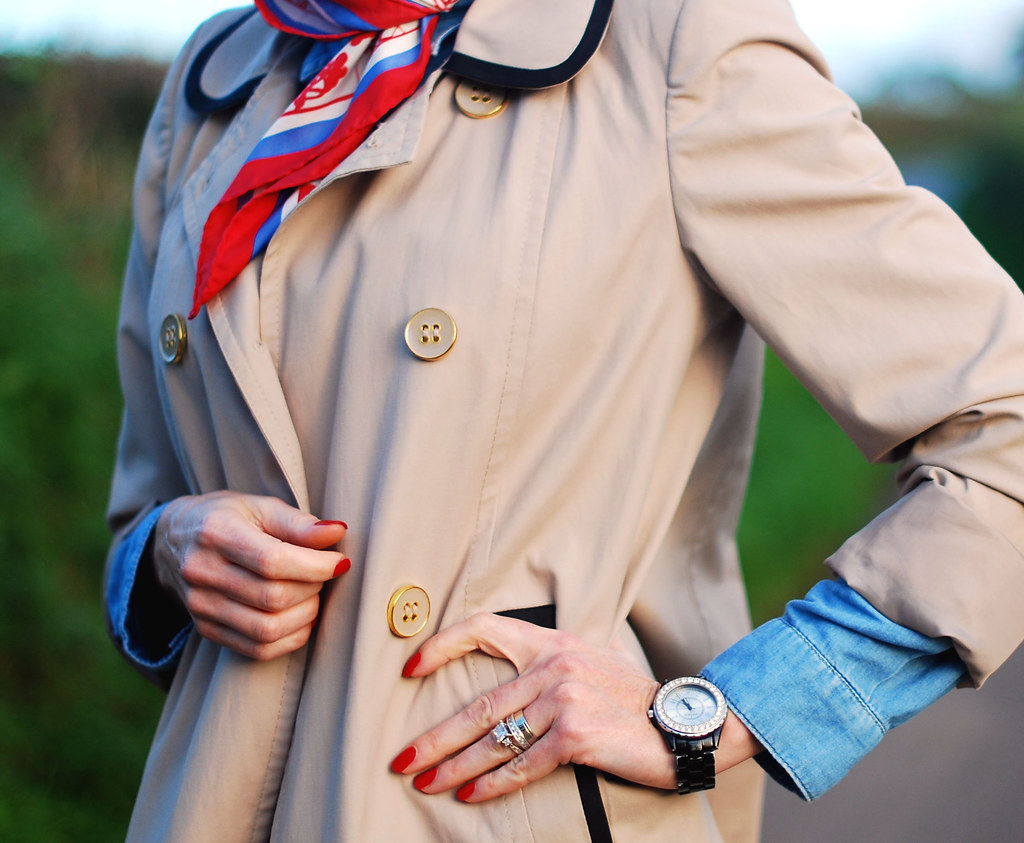 Vintage scarf, trench coat