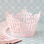 Pink bird cage cupcake wrappers