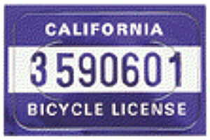 California bicycle license