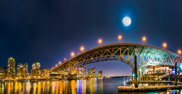 Full Moon Over Granville Street Bridge -  Granville Island, Vancouver