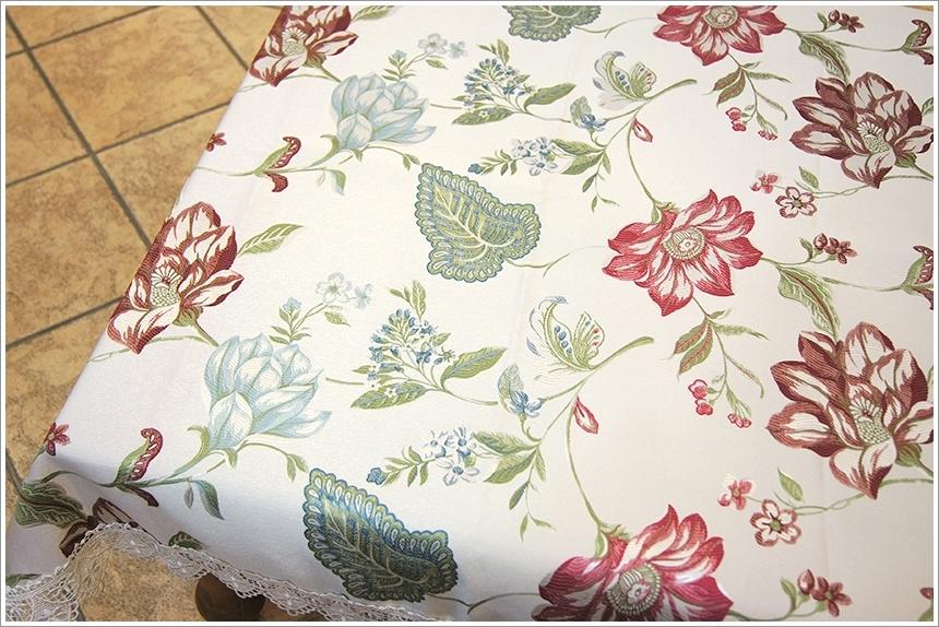 桌巾— 田园多彩色织缇花花卉图样桌布- 大花款 100×100cm 可订制
