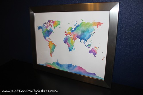 framed watercolor world map art