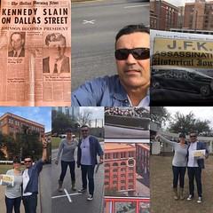 My daughter showed me today the place where the President J.F.Kennedy was shot here in Dallas in November 23 of 1963 we had a history lesson from the guy there also he took pictures of us in the spot in the street where Kennedy was shot for the second tim